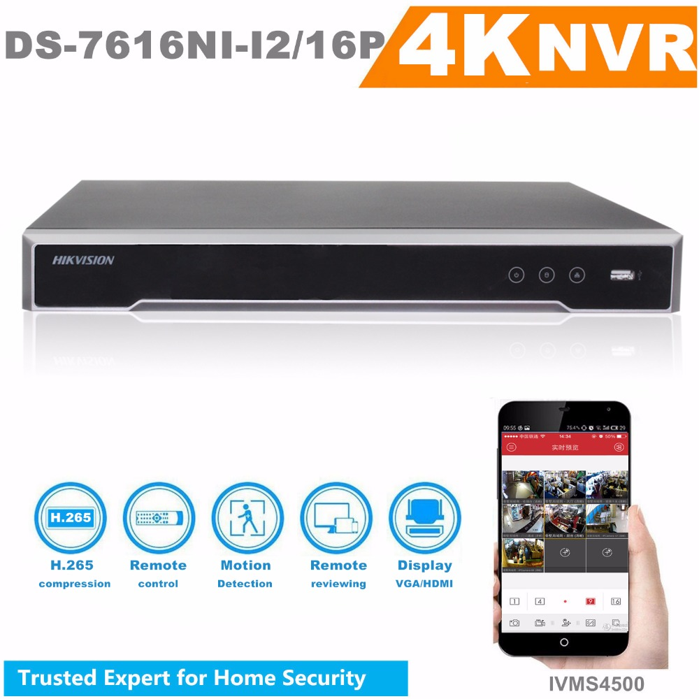 Original HIKVISION H.265 4K NVR 16CH DS-7616NI-I2/16P Professional POE NVR for CCTV Camera System HDMI VGA Plug & Play NVR hikvision original outdoor cctv system 8pcs ds 2cd2t55fwd i8 5mp h 265 ip bullet camera ir 80m poe 4k nvr ds 7608ni i2 8p h 265