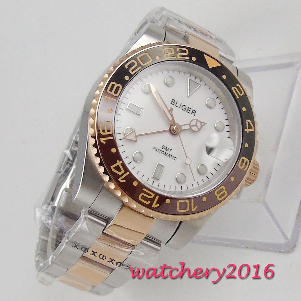 Nowy 40mm Bliger biała tarcza szafirowe szkło GMT kalendarz ze stali nierdzewnej świecenia luksusowa marka automatyczny ruch zegarek męski w Zegarki mechaniczne od Zegarki na  Grupa 1