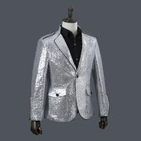 Mens Sequin Jacket Fashion Sequins Suits Blazer 2019 Men Clothes Nylon Single Breasted Silver Mens Blazers Mens Suits Jacket