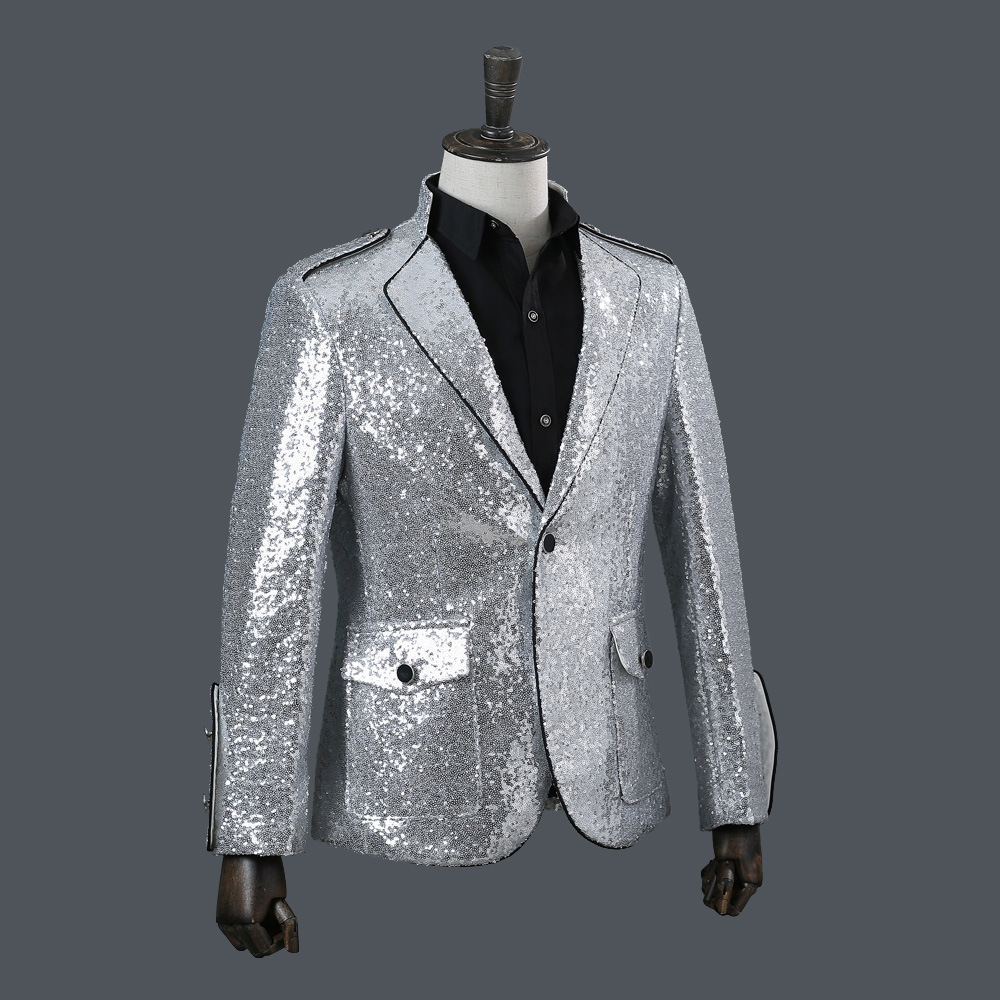 Mens Sequin Jacket Fashion Sequins Suits Blazer 2019 Men Clothes Nylon Single Breasted Silver Blazers