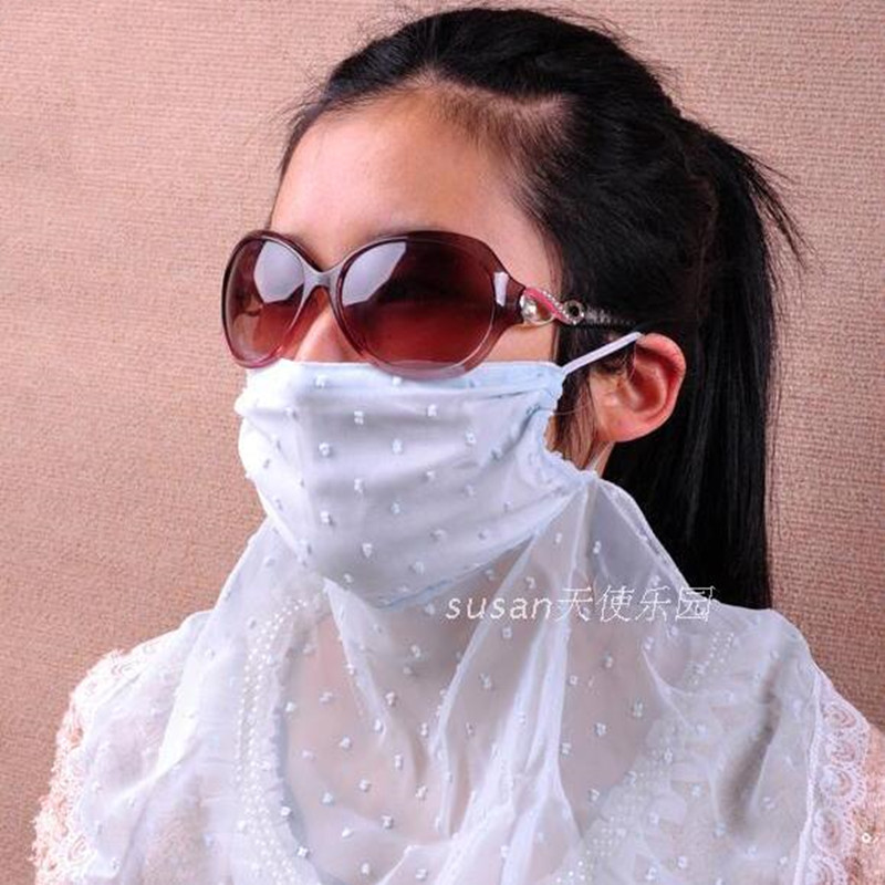 Summer Lady Driving Face Mask Chiffon Sunscreen Women Anti-ultraviolet Cycling Breathable High Quality Fashion Female Mask H3144