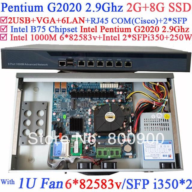 US $550 0 |hi spider 1U network Firewall Router with 8 ports Gigabit lan  Intel Pentium G2020 2 9G Mikrotik PFSense ROS Wayos 2G RAM 8G SSD-in  Firewall