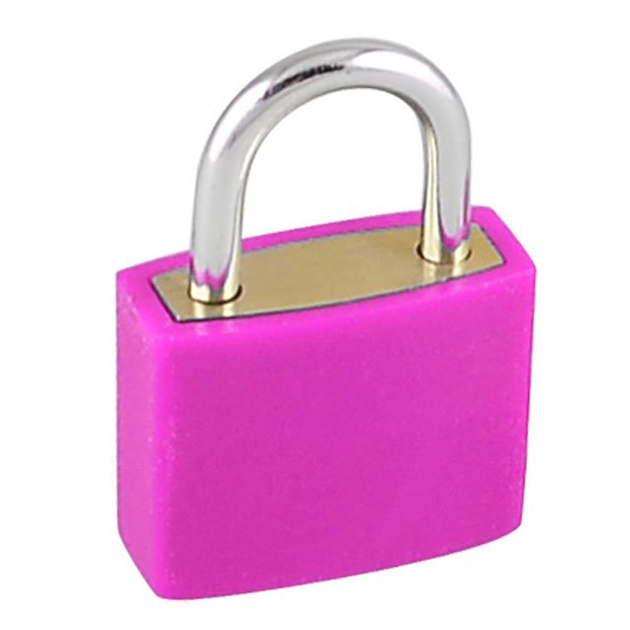 WCS 23mm Rectangle Cabinet Lock Drawer Mini Lock Padlock Fuchsia W 2 Keys