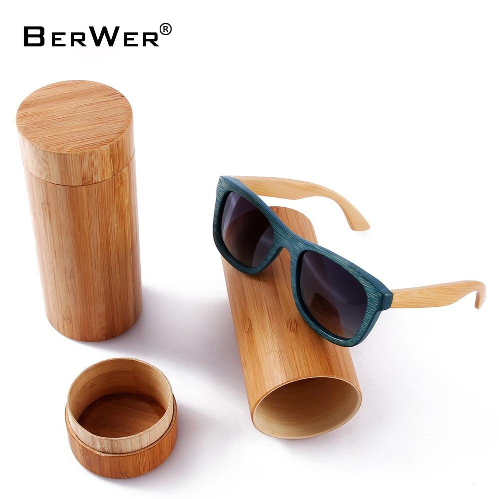 BerWer Bamboo polarizirana sončna očala Moška polarizirana lesena sončna očala Ženske Blagovne znamke originalna lesena očala Oculos de sol masculino