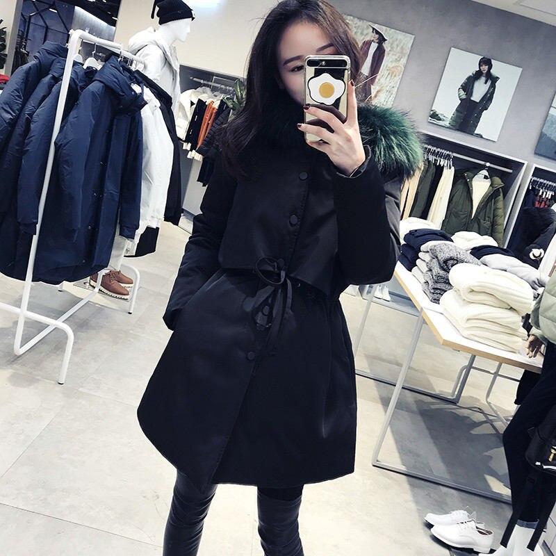 2018 ฤดูใบไม้ร่วงฤดูหนาวเกาหลีผู้หญิงหญิงสีดำ bf Harajuku หลวม Plus Cotton college Windbreaker แจ็คเก็ต Hooded Parkas X199-ใน เสื้อกันลม จาก เสื้อผ้าสตรี บน   1