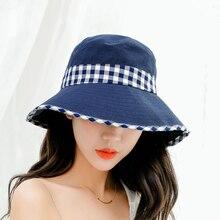SUOGRY 2019 Newest Spring Women Hats Patchwork Cotton Sun Female Fashion Flat Top Plaid Bbucket