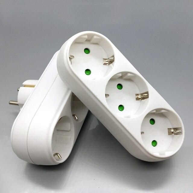 מגניב שקע האיחוד האירופי תקע חשמל רצועת רב תקע שקע נסיעות מתאם חשמלי הארכת 3 שקעי שקע לבן טעינת 3500W