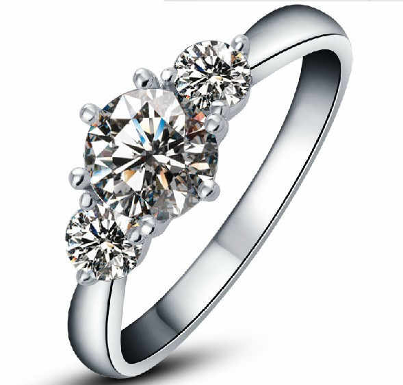 2Ct White Gold 750 Three Stone Great Real Moissanite Women Engagement Ring Romantic Anniversary Gift For Her Stone Test Positive