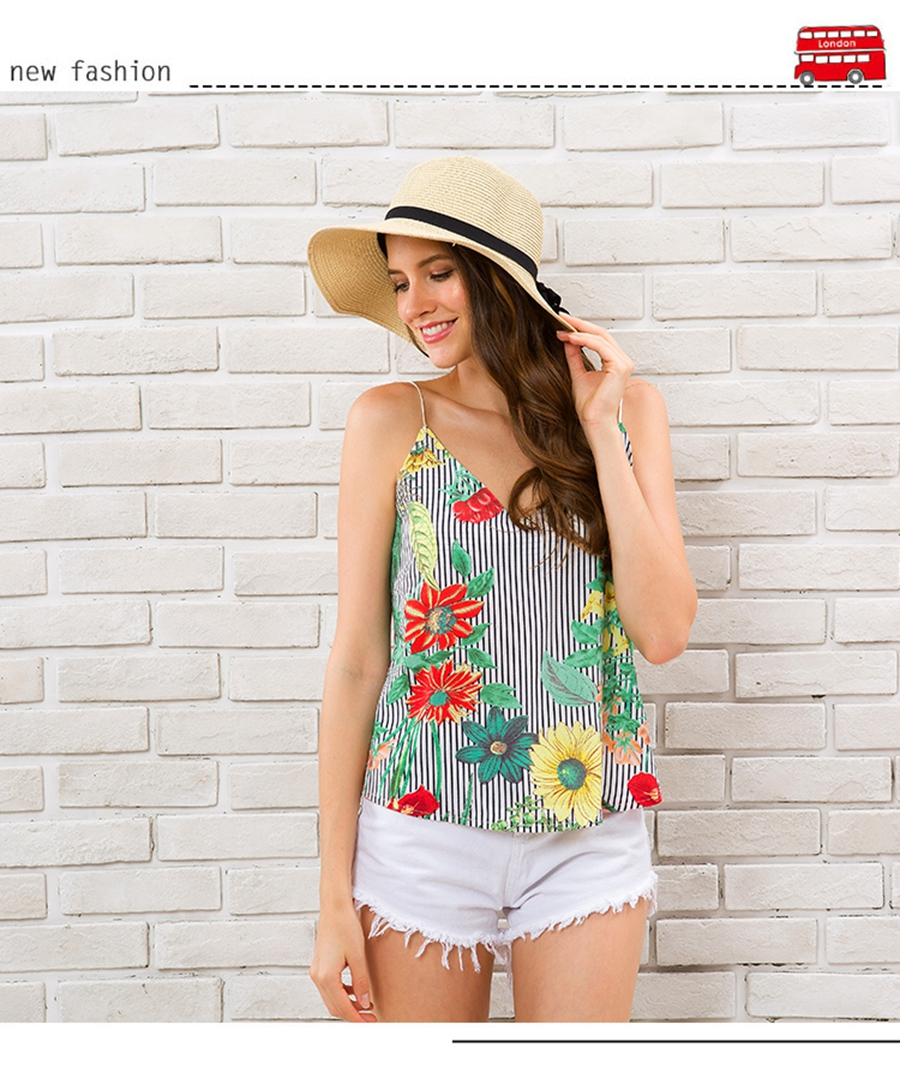 HTB1tow7zmtYBeNjSspaq6yOOFXaI - Striped Tank Top Women Flower Print V-neck Sleeveless Summer Camis 2018 Fashion Beach Wear Off Shoulder Shirt Female Clothing