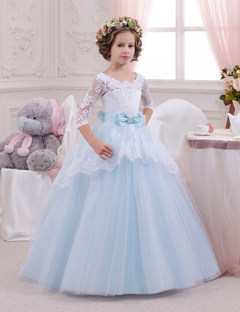 2016   Girls   Pageant Gowns Wedding White   Flower     Girl     Dresses   Lace Bowknot Tulle Ball Gown Princess Holy Communion   Dress   Online
