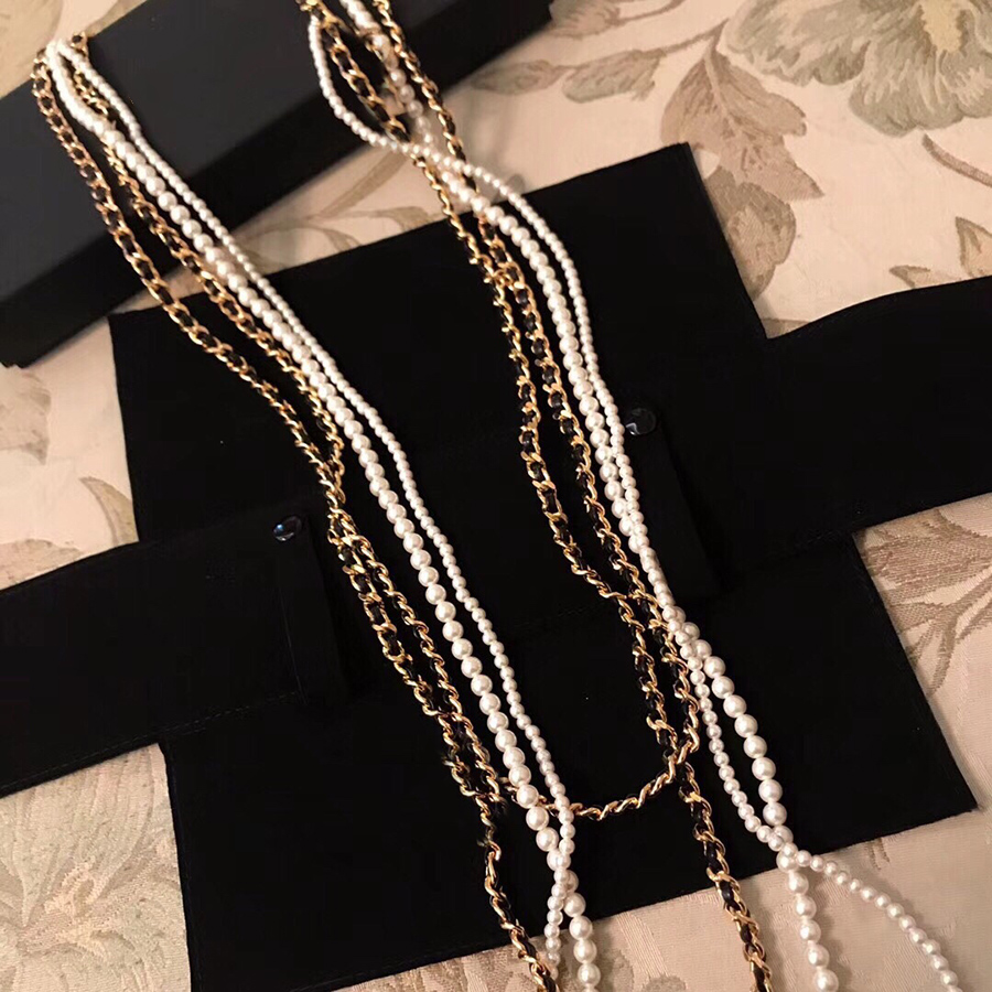 2019 New Design Luxury Brand Jewelry Fashion Long Maxi Necklace Pearl For Women Party Wedding Daily