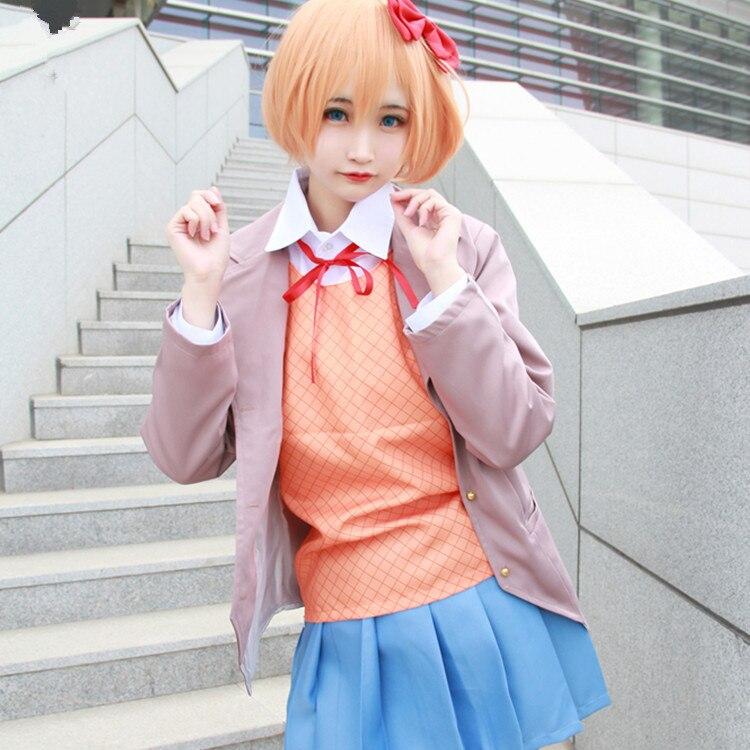 Doki Doki Literature Club Game Anime Cosplay Sayori cos Halloween Party Man Woman Japanese uniform Cosplay Costume