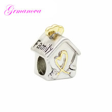 05abc3bbf Golden Love Charm Beads Big Hole Family House Family Amulet Original Brand  Design Fit Pandora Bracelet Necklace