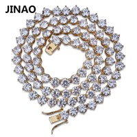 JINAO Men's Hip Hop Bling Iced Out Chain 3 Prong Tennis Chain 1 Row Necklaces 4mm6mm Silver/Gold Color Men Chain Fashion Jewelry