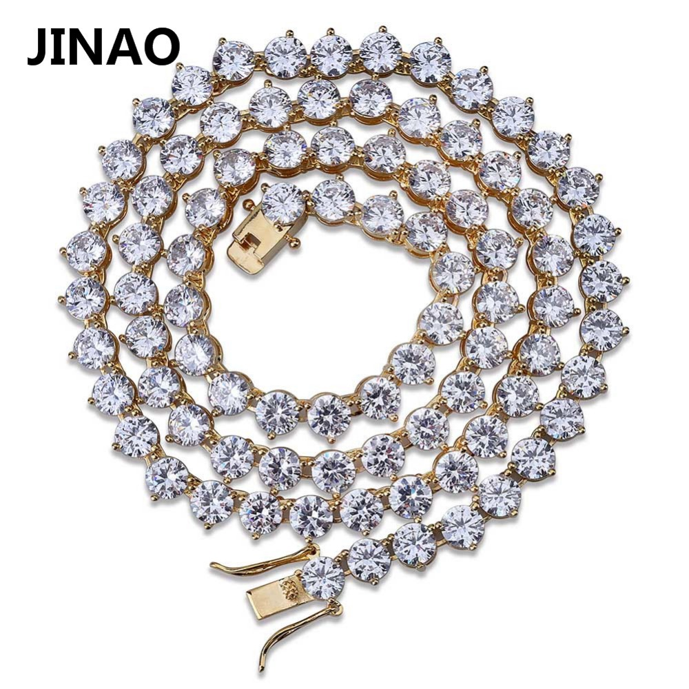 Men's Hip Hop Bling Bling Iced Out 3 Prong Tennis Chain 1 Row Necklaces 4mm 6mm Silver/Gold Color Men Chain Fashion Jewelry custom name bubble letters chain pendants necklaces men s zircon hip hop jewelry with 4mm gold silver tennis chain