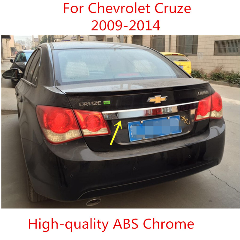 Aço inoxidável e ABS Trunk Chrome Rear guarnição Tampa Maçaneta Da Porta Porta Traseira Guarnição Moldura Moldagem Styling Para Chevrolet Cruze 2009 -2014