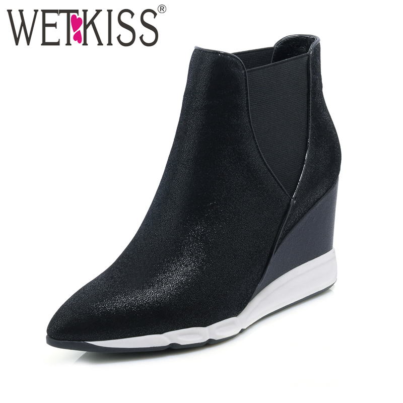 WETKISS Genuine Leather Ankle Boots Sheep skin Women Shoes Wedges Boot Pointed toe Elastic Slip on