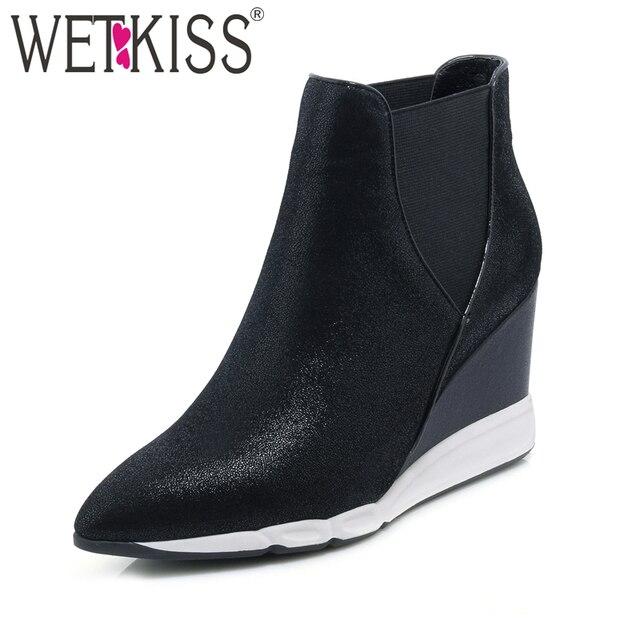 WETKISS Hakiki Deri yarım çizmeler Koyun Derisi Kadın Ayakkabı Takozlar Çizme Sivri Burun Elastik kayma Kadın Ayakkabı Sonbahar Kış