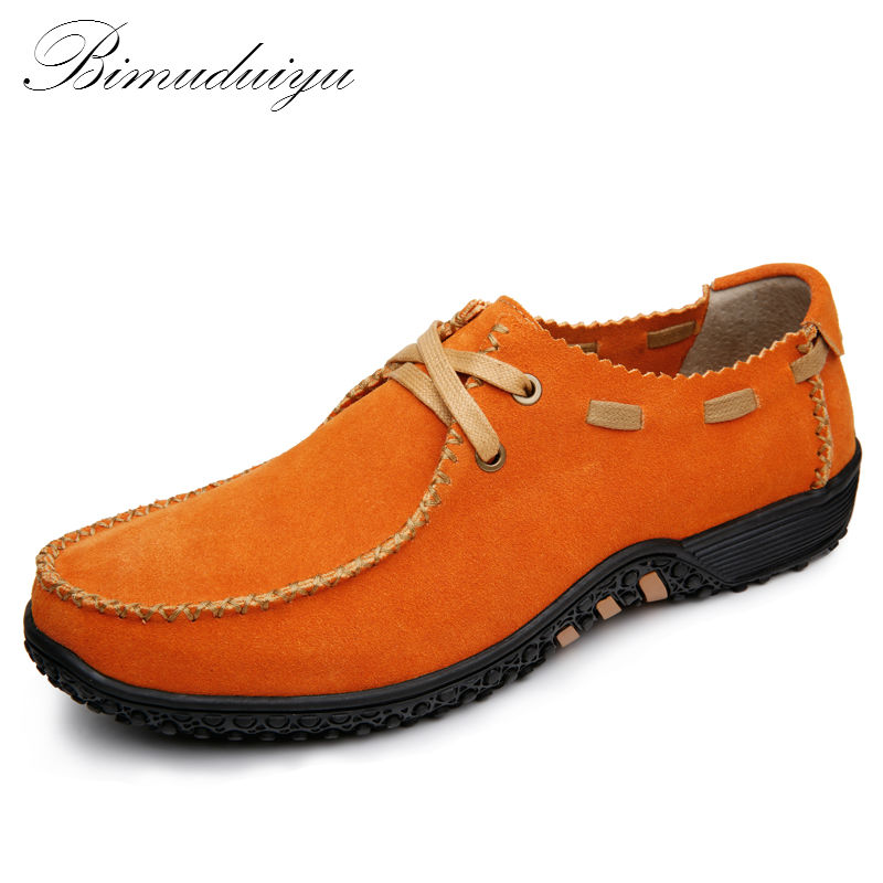 BIMUDUIYU Spring Nubuck Suede Genuine Leather Soft Loafer Shoes Men Casual Handmade Natural Cowhide Flat Leisure Lazy  Driving bimuduiyu new england style men s carrefour flat casual shoes minimalist breathable soft leisure men lazy drivng walking loafer
