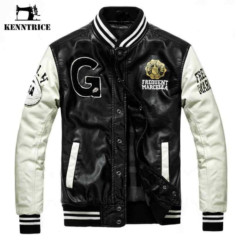 907163a92c3 Kenntrice бейсбольная кожаная куртка Колледж Jaqueta Couro мужская куртка  из искусственной кожи уличная куртка высокое качество