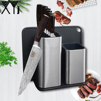 XYj High Grade Stainless Steel Kitchen Knives Set with Knife Holders Knife Sharpener Color wood Handle Fruit Fish Meat Tools