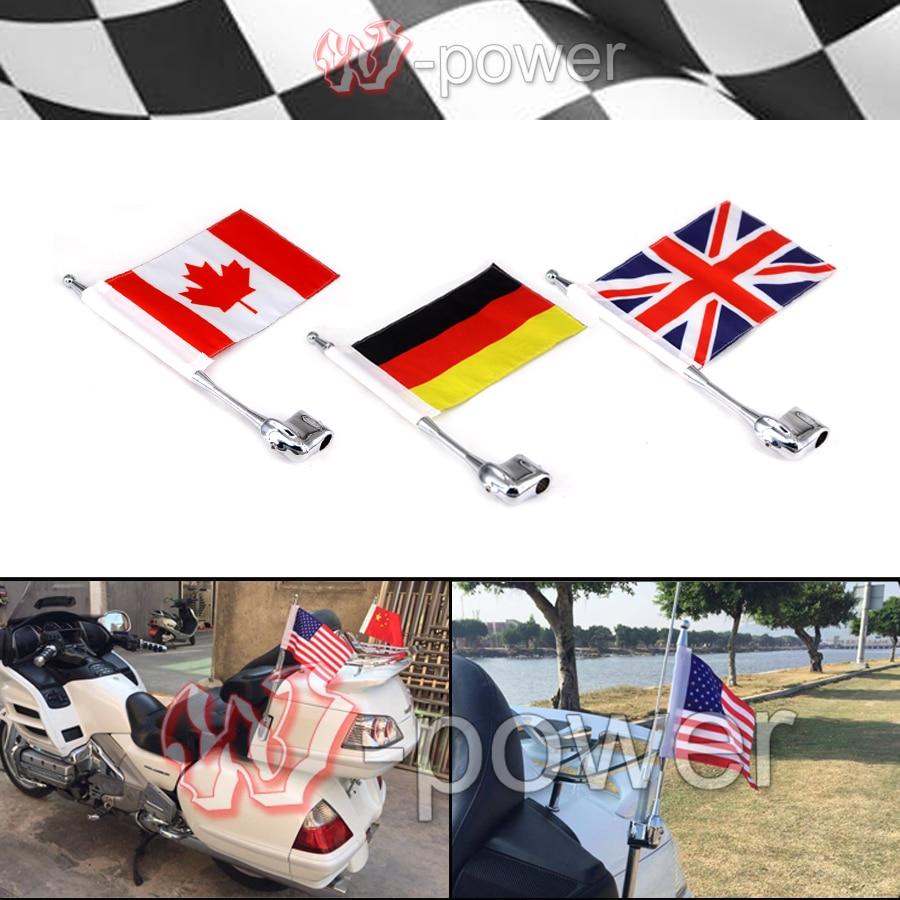 Хром мотоцикл заднего боковые крепления флагштока флаг Америки высокого качества флагшток с флагом для Хонда goldwing gl1800 2001-2011