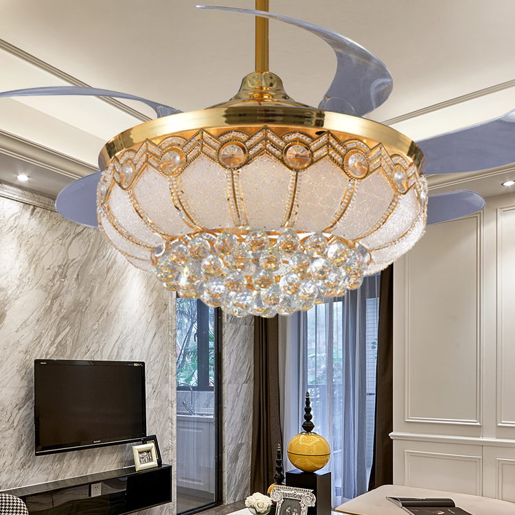 52 inch Modern LED Gold Crystal <font><b>Ceiling</b></font> Fans With Lights Remote Kits For Living Room Restaurant Foyer Decoration retractable
