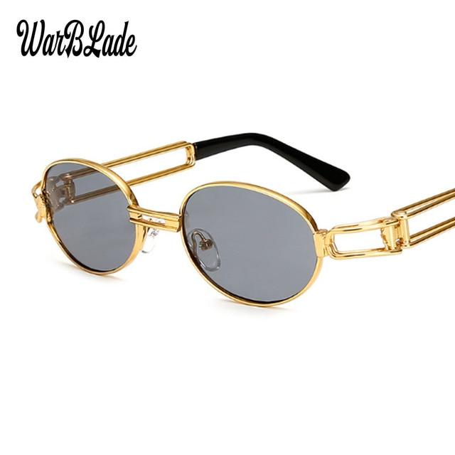 6943c541e97d New Retro Vintage Sunglasses Men Small Round Gold Metal Small Sun glasses  For Men Fashion Women Hollow 2018 Hot Sale WarBLade