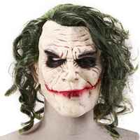 Joker Maske Film Batman The Dark Knight Cosplay Horror Scary Clown Maske mit Grün Haar Perücke Halloween Latex Maske Partei kostüm