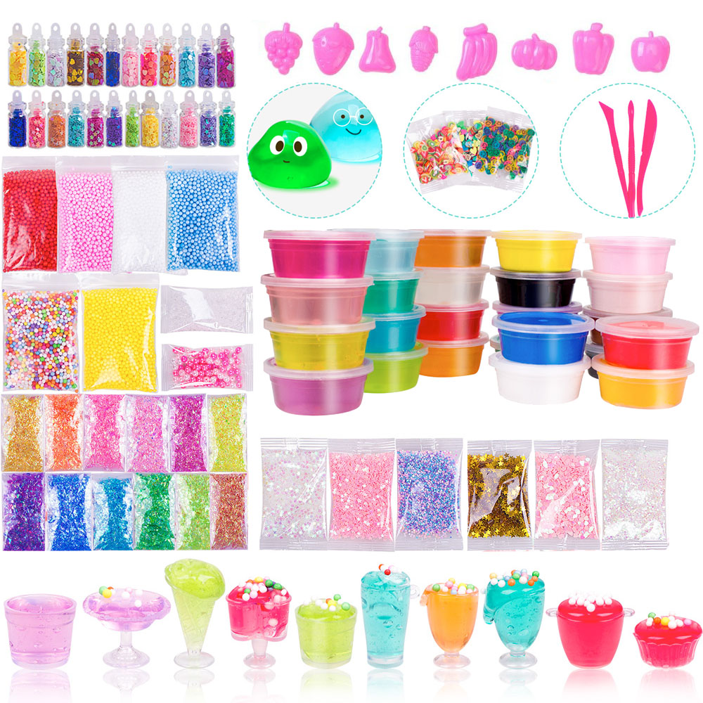 DIY Slime Kit, Slime Making Kit Includes 12 Crystal Slime, Glitter Jars, Charms, Sugar Paper, Foam Beads, Fishbowl Beads For Kid-in Modeling Clay from Toys & Hobbies    1