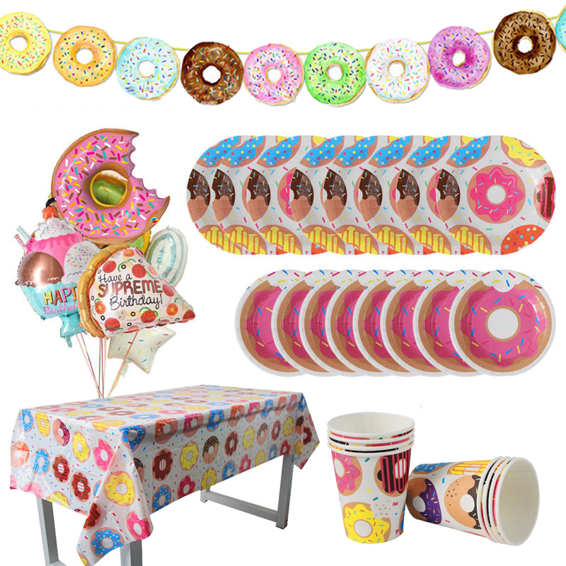 Image 4 - Donut Party Donut Wall Wedding Party Decoration Disposable Tableware Set Ice Cream Party Balloons Kids 1st Birthday Decorations-in Party DIY Decorations from Home & Garden
