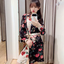 New Style Short Dress with Shirt Dress In Spring and Summer 2019 Turn-down Collar Print Straight Black Dress Women 2019 spring summer loose black knitted dress women turn down collar office work midi dress women with button korean style dress