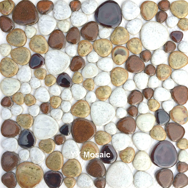 Online Shop Brown White Color Ceramic Mosaic Wall Tile For Bathroom