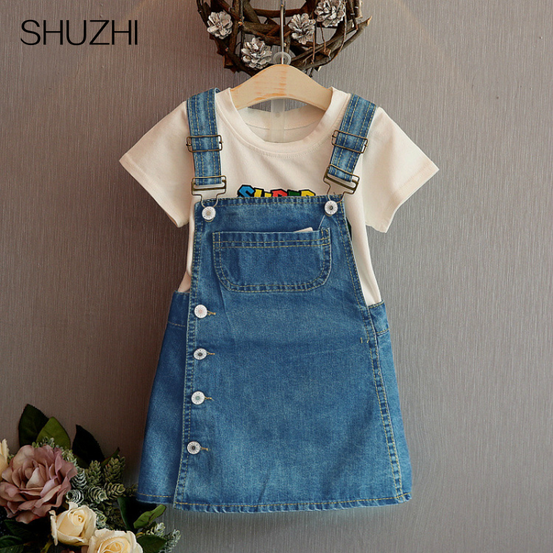 SHUZHI Summer Style Girls Straps dress cute denim Kids Sundress For Girl Party Dresses Child Party Birthday clothes new arrival baby girls denim sundress girls suspender denim dress kids sunflower print mini sundress kids all match dress