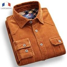 Langmeng бренд 100% хлопок вельветовые мужские рубашки сплошной цвет длинным рукавом Винтаж фланель Повседневная рубашка мужская Camisa masculina
