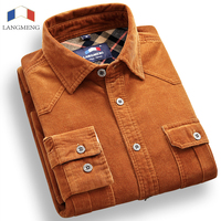 Brand 100 Cotton Corduroy Mens Dress Shirts Solid Candy Color Long Sleeve Vintage Flannel Casual Shirt