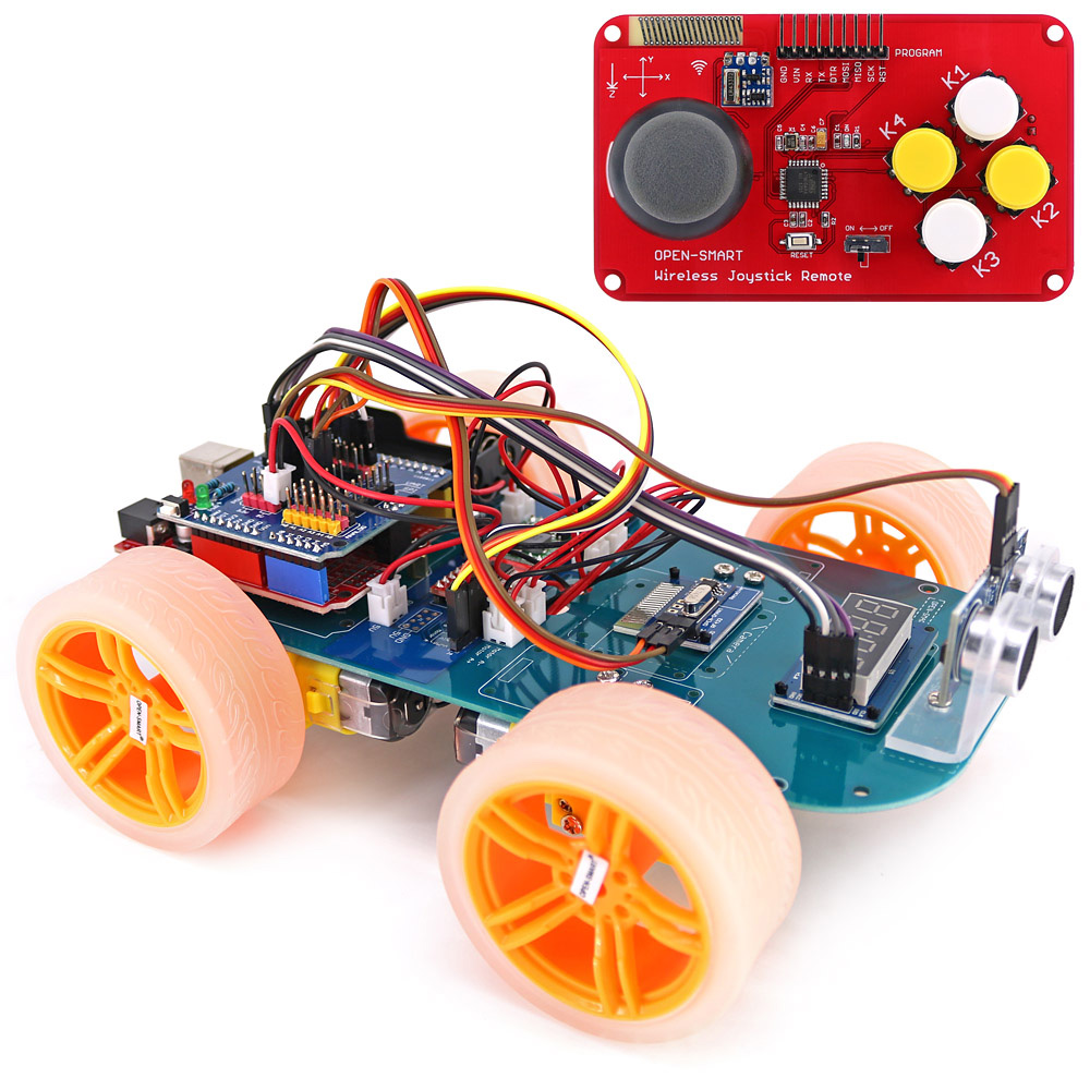 4WD Wireless JoyStick Remote Control Rubber Wheel Gear Motor Smart Car Kit with Tutorial for Arduino UNO R3 Nano Mega2560 arduino robot smart car kit uno r3 wireless control starter study l298n shield