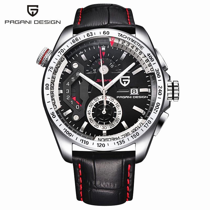 2017 Pagani Дизайн кожа повседневные часы для мужчин спортивные календари водостойкий нержавеющая сталь открытый relogio masculino