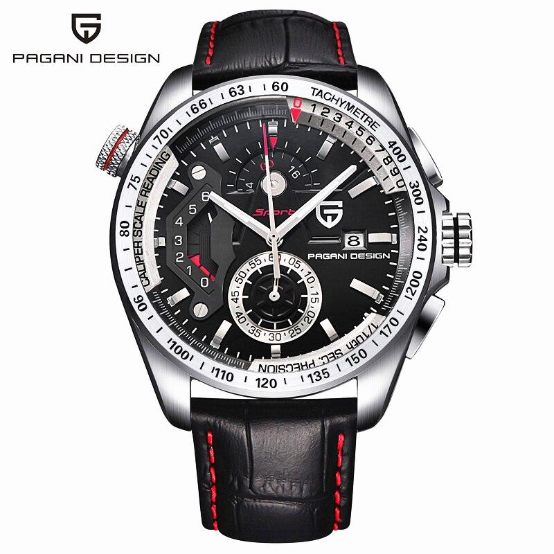 2017 Pagani Conception en cuir Quartz Montres Hommes Sport Calendrier Étanche En Acier Inoxydable Extérieur Horloge relogio masculino