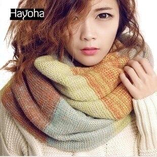 Новый зима и осень шерсти вязание шарф полосатый утолщение воротник шарф женщин