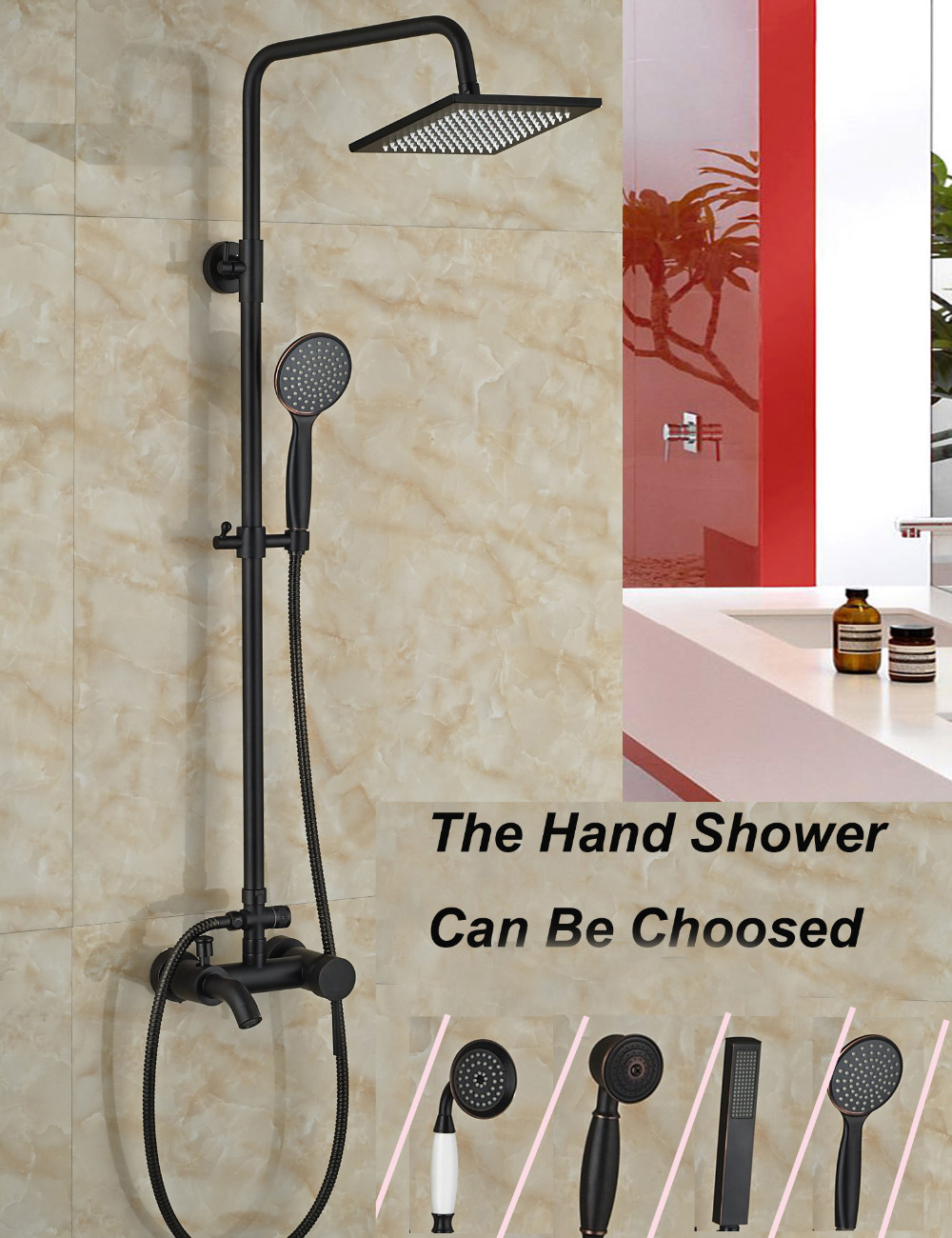 Wholesale And Retail Modern Oil Rubbed Bronze Bathroom Square Rain Shower Head Faucet Tub Mixer Tap Hand Unit modern wall mounted round 8 rain shower head valve mixer tap oil rubbed bronze