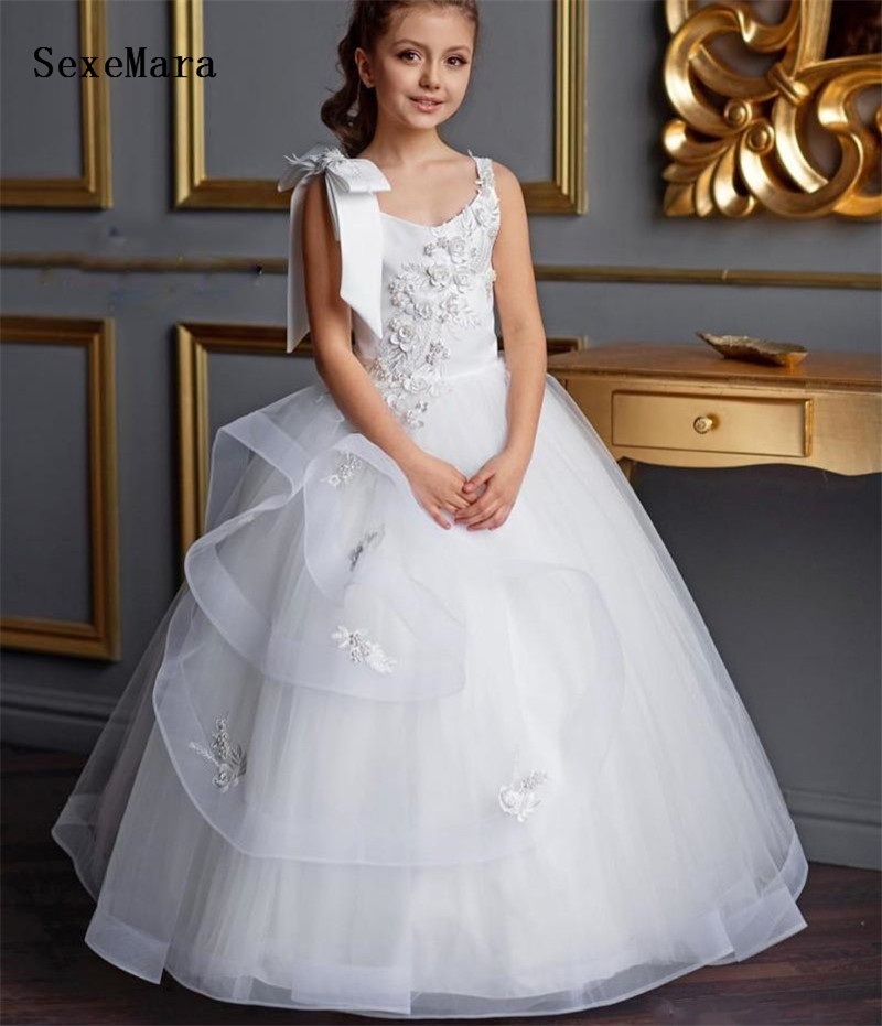 White Flower Girls Dresses Jewel Lace Appliques Beads Kids First Communion Dress Prom Party Birthday Gowns Pageant DressWhite Flower Girls Dresses Jewel Lace Appliques Beads Kids First Communion Dress Prom Party Birthday Gowns Pageant Dress