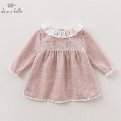 DBZ6132 dave bella autumn baby Princess girl Wedding Birthday dress plaid Children Clothes Infant Designs GIRL'S Vestido
