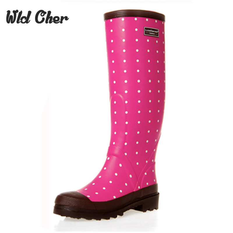 Women Rain Boots Fashion Knee High 2017 Pink Crocodile Pattern Rain Shoes Girl Summer Rubber Waterproof Rainboots Ladies Shoes