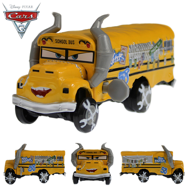 Disney Pixar Cars 3 Diecast Metal Car Toys School Bus Miss Fritter