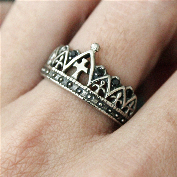 Drop Ship New Cross Crown Ring With Crystal Stones Women Mens 316L Stainless Steel Polishing Silver Punk King Of The Crown Ring