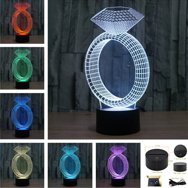 LED 7 Color Diamond Night Light USB Touch Swtich 2017 Valentine Gift Birthday Holiday Wedding Bedroom Ambient Lights -3D-TD247