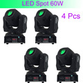 4 Pcs Hot Good Quality 60W LED Spot Light DMX512/Master-Slave/Auto Run/Sound Controller Moving Head Light DJ/Bar/Performance