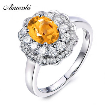 AINUOSHI Natural Citrine Flower Ring 2ct Oval Cut Gemstone Engagement Party Women Jewelry Genuine 925 Sterling Silver Halo Ring