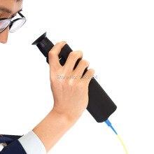 Microscopio de inspección óptica de fibra, 400x, iluminación LED, goma antideslizante